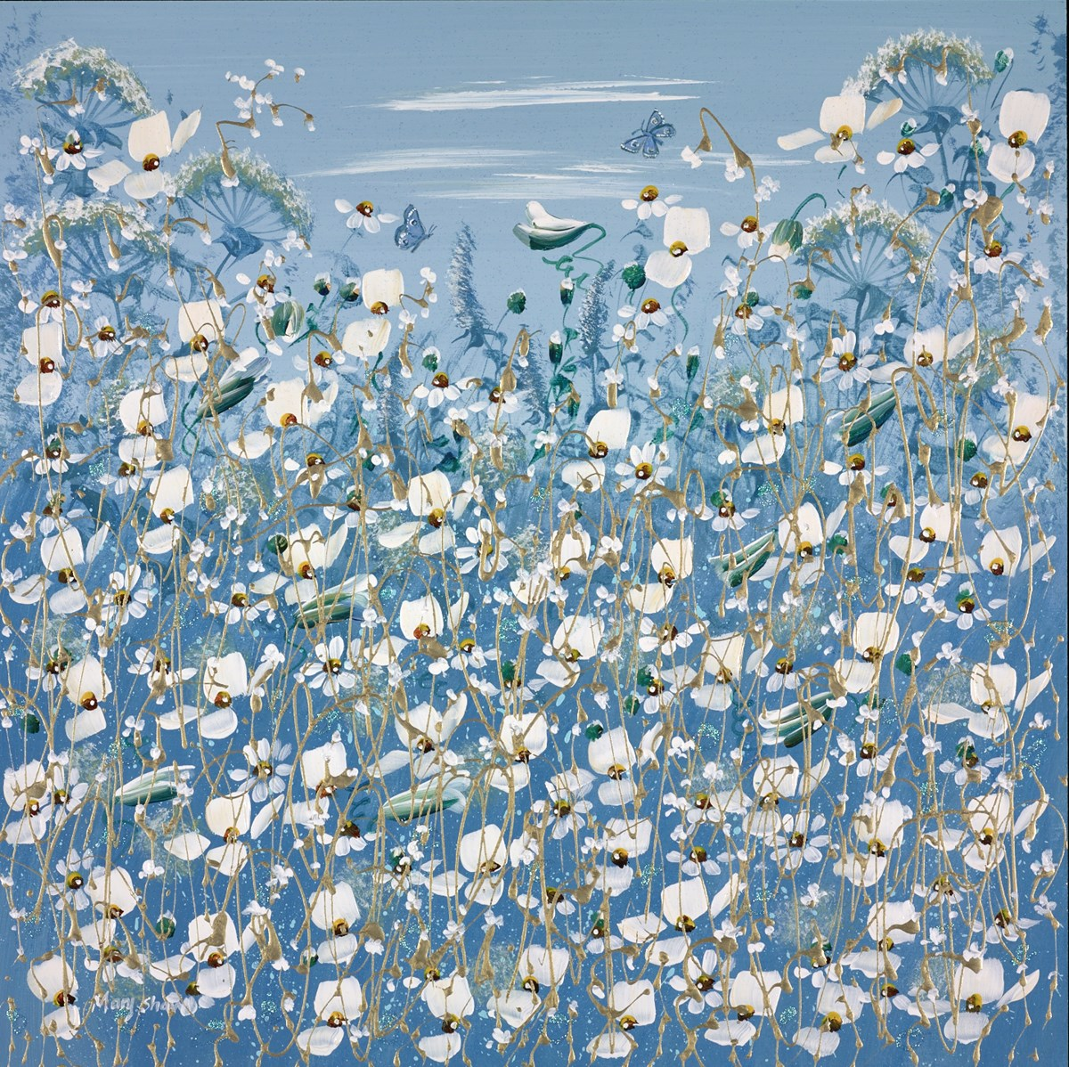 Butterflies in Blue I by mary shaw -  sized 18x18 inches. Available from Whitewall Galleries
